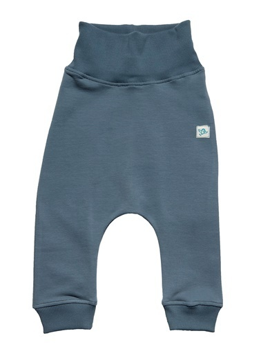 Nila Kids Gri Mavi Rengi Erkek Bebek Organik Fit Pantalon NK4004GM (3 AY - 5 YAş) Mavi